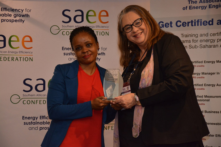 LEDET Energy Efficiency Intern, Vera Maditsi (left), receives her Top Student Award for the highest CEM marks achieved in the student group from Lisa Reynolds, the AEE Chapter, SAEEC's President, at the Annual AEE Certification Ceremony for Sub-Saharan Africa held at the 2017SAEEC Conference at Emperors Palace, Gauteng in November 2017.