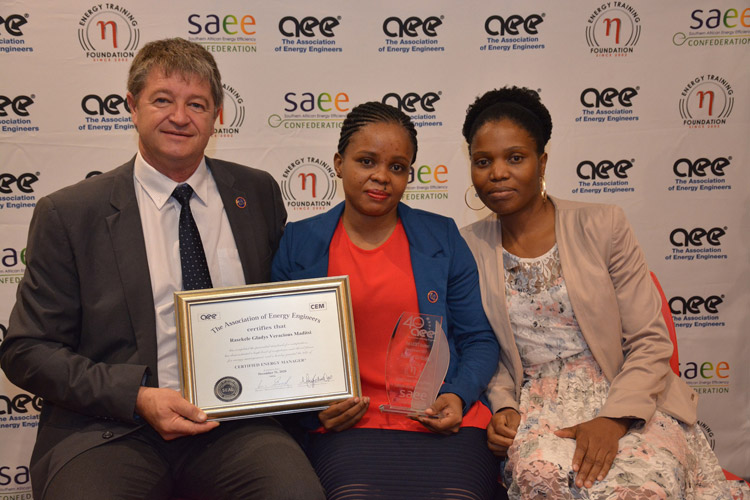 LEDET Energy Efficiency Intern, Vera Maditsi (middle), displaying her CEM certificate with her CEM trainer Louis Lagrange (left) from the Energy Training Foundation, and Mashele Makobela from LEDET the project owners.